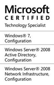 Microsoft Certified - Technology Specialist - Windows 7 Configuration, Windows Server 2008 Active Directory Configuration, Windows Server 2008 Network Infrastructure Configuration